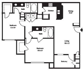 1,208 sq. ft. F floor plan