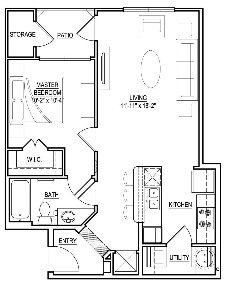 729 sq. ft. A4 floor plan