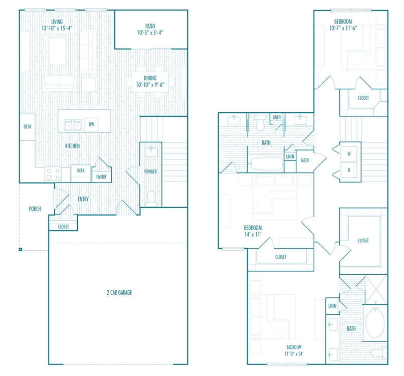 1,689 sq. ft. TH floor plan