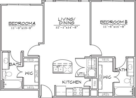 884 sq. ft. floor plan