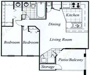 900 sq. ft. Oak/60 floor plan