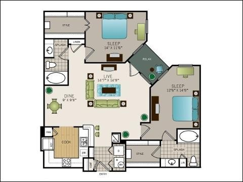 1,163 sq. ft. to 1,201 sq. ft. floor plan