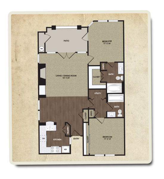 1,098 sq. ft. Kimbell floor plan