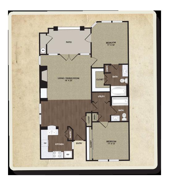 1,098 sq. ft. Kimbell floor plan