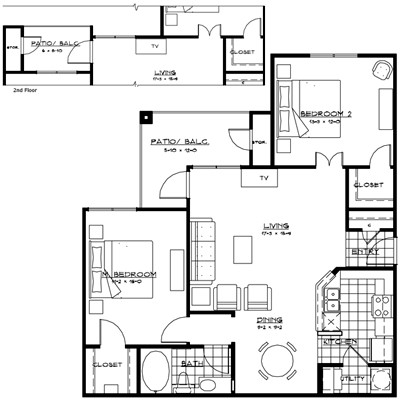 1,062 sq. ft. GENOVA floor plan