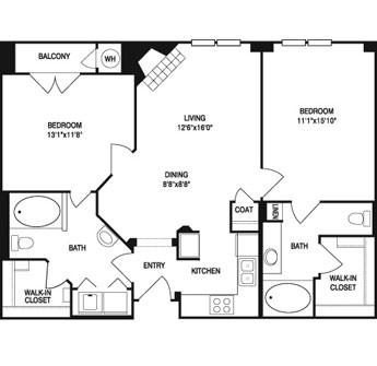 1,019 sq. ft. floor plan