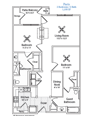 1,100 sq. ft. Paris floor plan