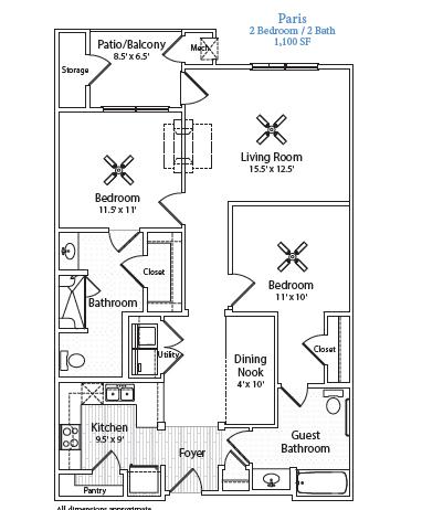 1,100 sq. ft. Paris floor plan