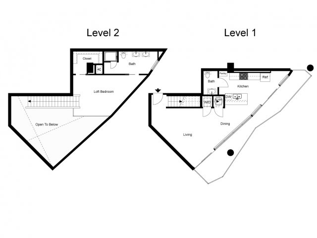 1,081 sq. ft. Loft 1A floor plan