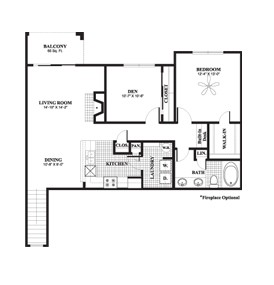1,108 sq. ft. to 1,173 sq. ft. Poplar floor plan
