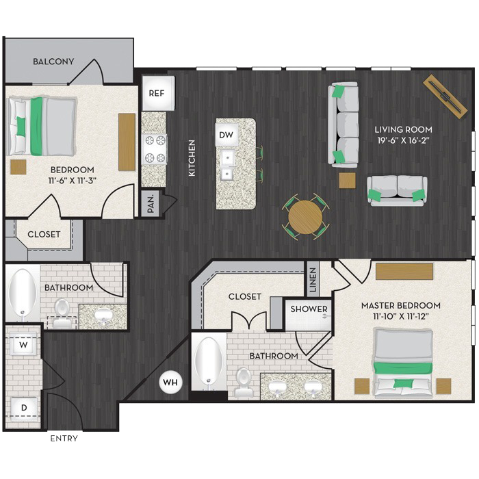 1,223 sq. ft. B3 floor plan
