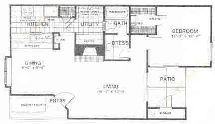 950 sq. ft. C floor plan
