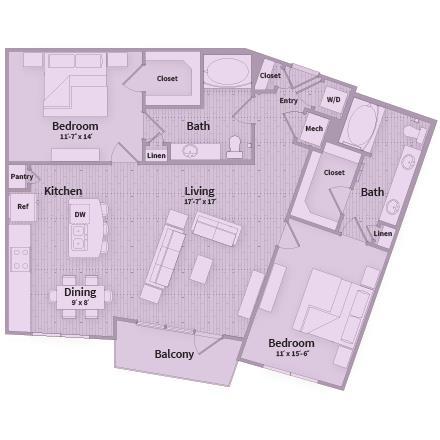 1,247 sq. ft. floor plan