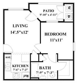 523 sq. ft. A1 floor plan