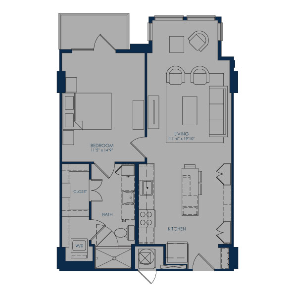 775 sq. ft. A24H floor plan
