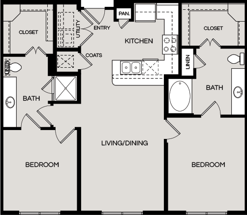 1,098 sq. ft. B1 floor plan