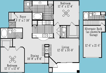 1,255 sq. ft. B5 floor plan