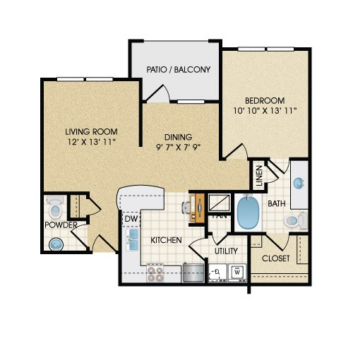 867 sq. ft. A2B floor plan