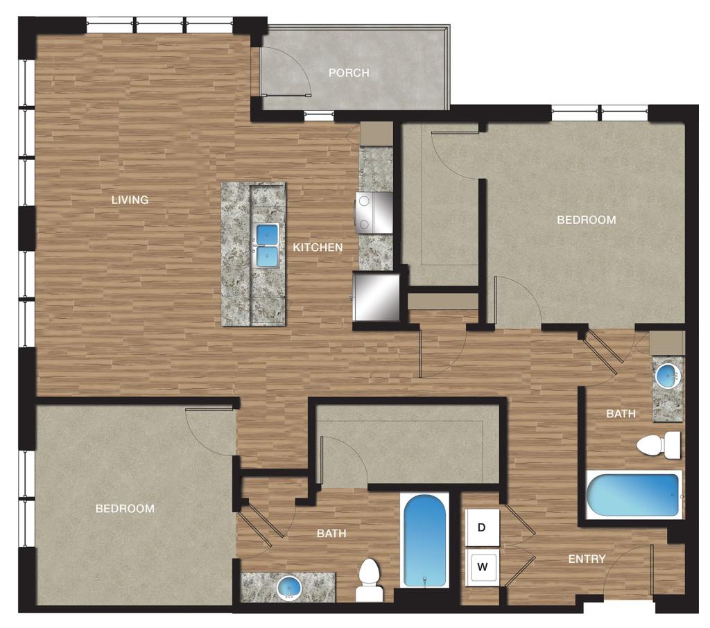 1,280 sq. ft. B7 floor plan