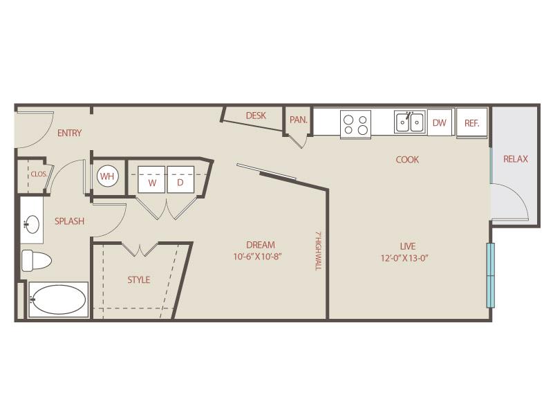 708 sq. ft. L2 Alameda floor plan