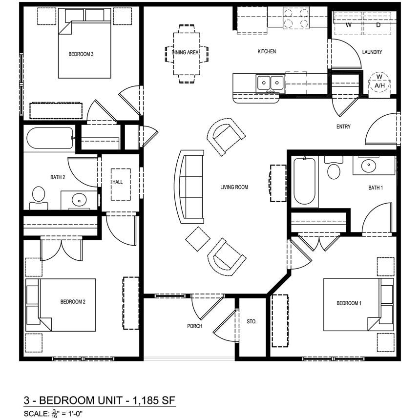 1,185 sq. ft. 60% floor plan