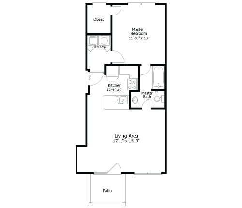 672 sq. ft. to 895 sq. ft. 3A2 floor plan