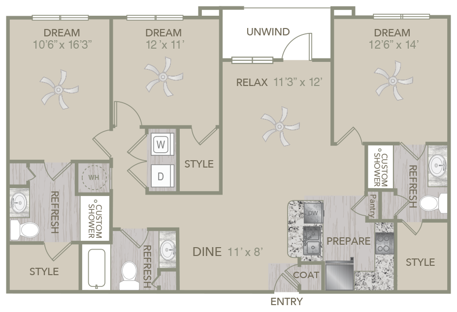 1,409 sq. ft. C4 floor plan