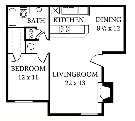 729 sq. ft. A2 floor plan