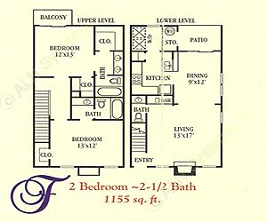 1,155 sq. ft. F floor plan