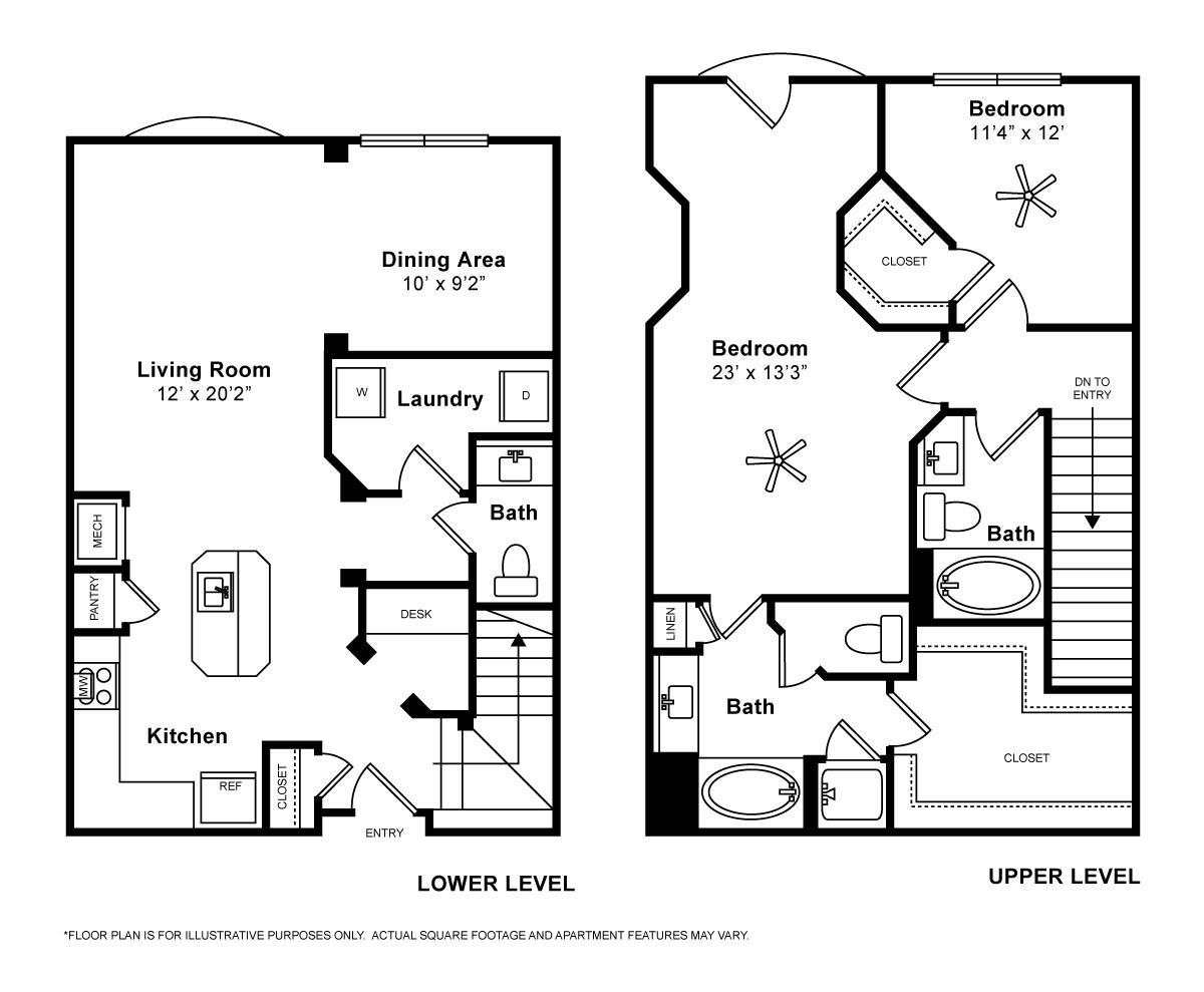 1,443 sq. ft. Ravello floor plan
