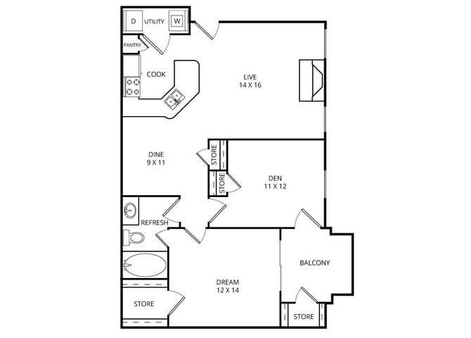 918 sq. ft. Portside floor plan