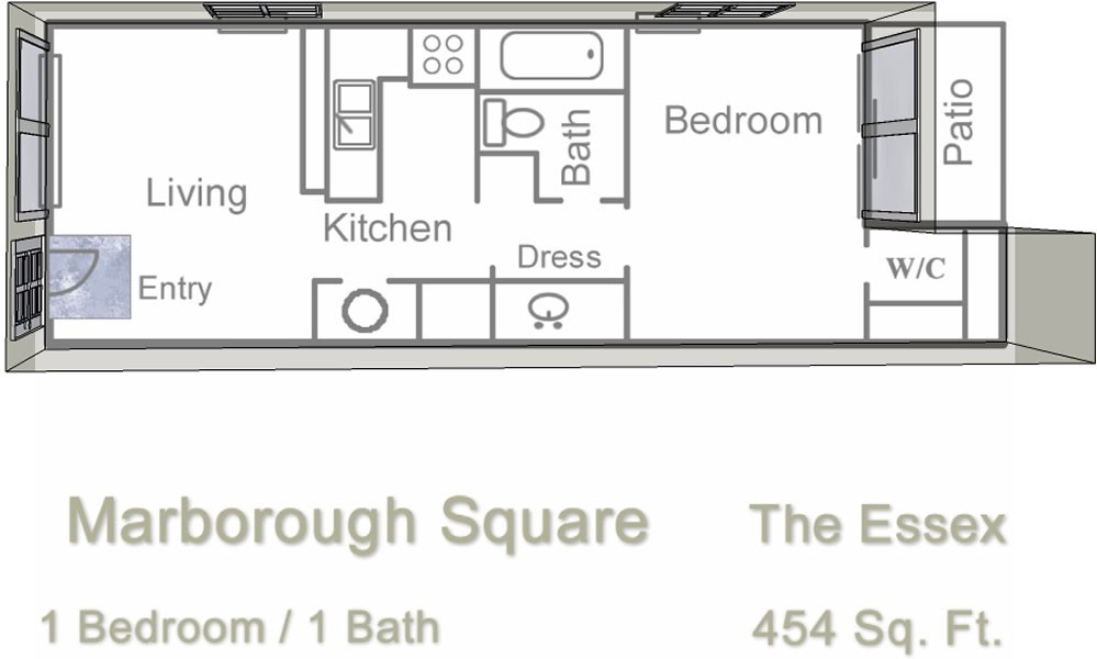 454 sq. ft. floor plan