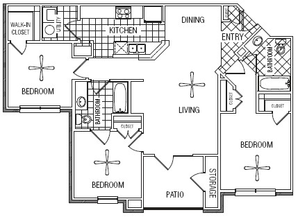 1,121 sq. ft. 60% floor plan