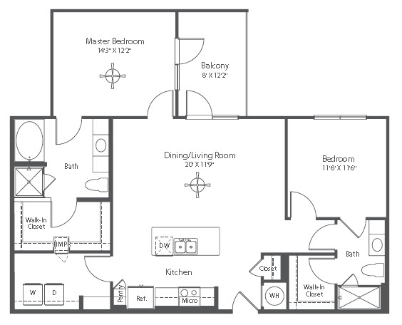 1,182 sq. ft. B4 floor plan