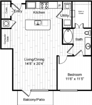 908 sq. ft. A9 floor plan
