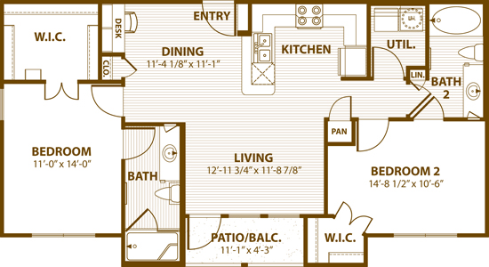 1,013 sq. ft. B2 50 floor plan