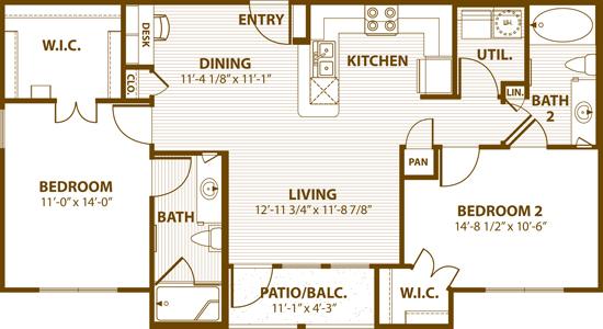 1,013 sq. ft. B2 60% floor plan