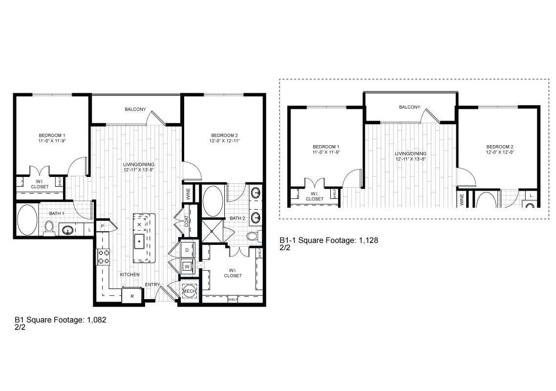 1,032 sq. ft. B1 floor plan