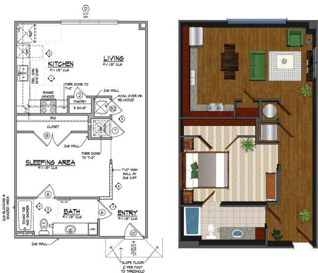 719 sq. ft. Bb floor plan