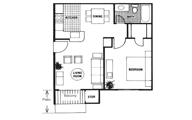 578 sq. ft. Futurity floor plan
