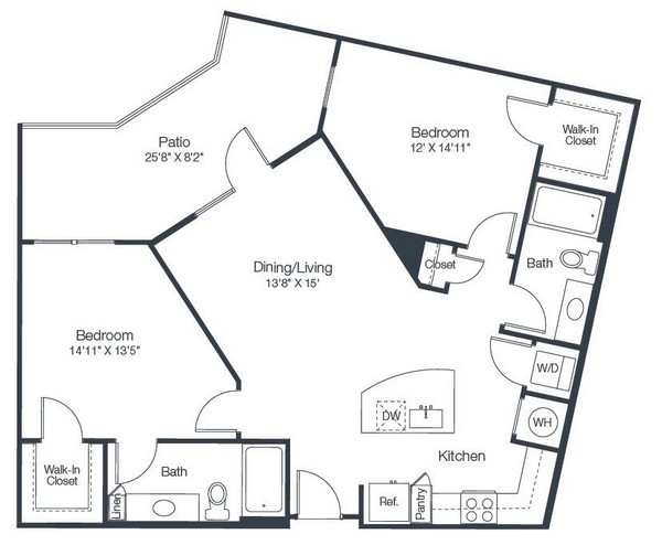 1,071 sq. ft. B2C floor plan
