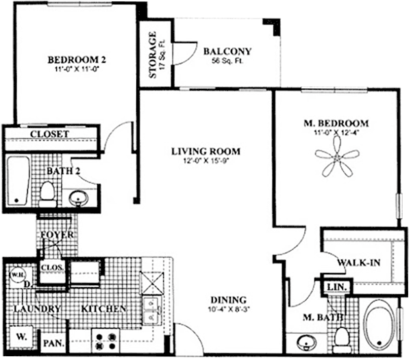 975 sq. ft. to 1,027 sq. ft. B3 floor plan
