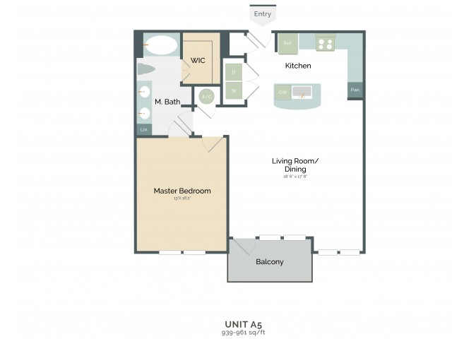939 sq. ft. to 961 sq. ft. A5 floor plan