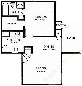 569 sq. ft. A floor plan