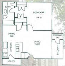 654 sq. ft. floor plan