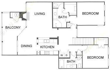 1,346 sq. ft. 2C floor plan