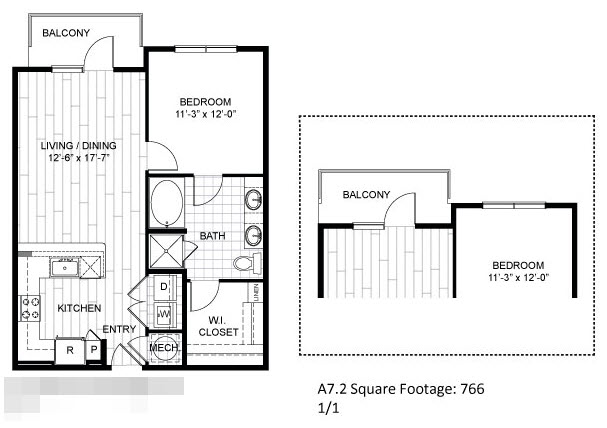 766 sq. ft. A7.2 floor plan