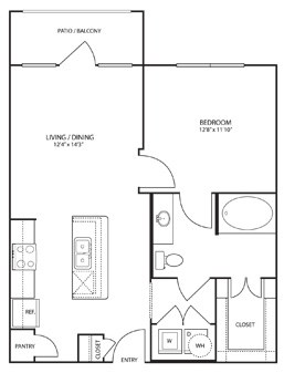 693 sq. ft. Bryant floor plan