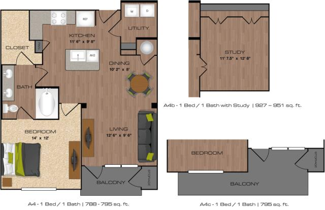 927 sq. ft. to 951 sq. ft. A4B,D floor plan