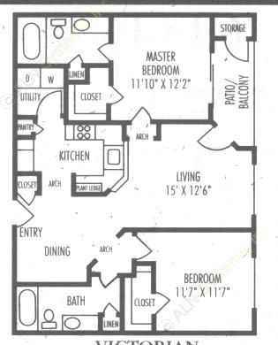 1,003 sq. ft. B3 floor plan